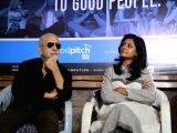 Actors Naseeruddin Shah and Nandita Das during a press announcement for 'Films For Change' initiative organised by Good Pitch India in Mumbai on March 14, 2018.