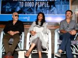 Actors Naseeruddin Shah, Nandita Das and director Rajkumar Hirani during a press announcement for 'Films For Change' initiative organised by Good Pitch India in Mumbai on March 14, 2018.