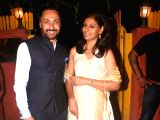 Actors Rahul Bose and Nandita Das during Diwali party hosted by Javed Akhtar and Shabana Azmi at their residence in Mumbai on Oct 18, 2017.