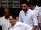 Actors Randhir Kapoor and Ranbir Kapoor attends the funeral of late actor-filmmaker Shashi Kapoor in Mumbai on Dec 5, 2017. The romantic screen icon of the 1970s and early 1980s died aged 79. ...