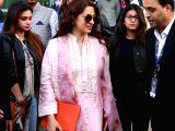 Juhi Chawla arrives for Isha Ambani-Anand Piramal's pre-wedding functions