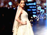 Actress Kangana Ranaut walks the ramp in fashion designers Bhumika and Shyamal Shodhan's creation at Lakme Fashion Week Summer/Resort 2018 in Mumbai on Feb 4, 2018.