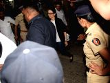 Actress Karisma Kapoor arrives at actor Anil Kapoor's residence to meet the grief struck Kapoor family after sudden demise of actress Sridevi, in Mumbai on Feb 26, 2018. Veteran actress ...
