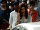 Actress Sophie Choudry arrives to attend Justin Biebers show at DY Patil Stadium in Mumbai, on May 10, 2017.