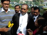 AIADMK MP and layer for Tamil Nadu A. Navaneethakrishnan talks to press outside Supreme Court regarding the apex court's verdict on Cauvery water sharing between Karnataka and Tamil Nadu ...