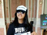 Akshita Rajpal, a 12-year old Delhi school girl who flew down to Mumbai alone to mark her presence at  popstar Justin Bieber's maiden live concert in India, in Mumbai on May 10, 2017.