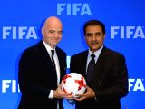 All India Football Federation (AIFF) president and Local Organising Committee chairman Praful Patel and Federation of International Football Association (FIFA) President Gianni Infantino ...