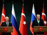 ANKARA, Dec. 11, 2017 - Turkish President Recep Tayyip Erdogan (R) and his Russian counterpart Vladimir Putin attend a joint press conference in Ankara, Turkey, on Dec. 11, 2017. Recep Tayyip Erdogan ...
