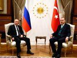 ANKARA, Dec. 11, 2017 - Turkish President Recep Tayyip Erdogan (R) meets with his Russian counterpart Vladimir Putin in Ankara, Turkey, on Dec. 11, 2017. Turkish President Recep Tayyip Erdogan and ...