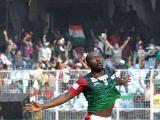 Aser Pierrick Dipanda Dicka of Mohun Bagan celebrates after winning an I-League match against  fans celebrate after the team won an I-League match against East Bengal at Salt Lake Stadium in ...
