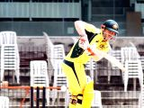 Australian cricketer David Warner in action during a warm-up match between India Board Presidents XI and Australia at MA Chidambaram Stadium in Chennai on Sept 12, 2017.