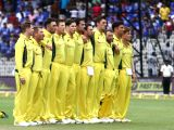 Australian players stand during the national anthem ahead of the first ODI cricket match between India and Australia at MA Chidambaram Stadium in Chennai on Sept 17, 2017.