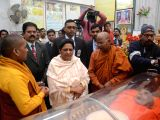 Bahujan Samaj Party (BSP) chief Mayawati pays homage to the mortal remains of Monk Pragyanand in Lucknow on Dec 2, 2017. Monk Pragyanand initiated Dalit leader B.R. Ambedkar into Buddhism. ...