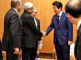 Bihar Chief Minister Nitish Kumar calls on Japanese Prime Minister Shinzo Abe in Tokyo, Japan on Feb 19, 2018.