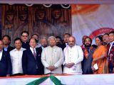 BJP chief Amit Shah, Defence Minister Nirmala Sitharaman, Union MoS Home Affairs Kiren Rijiju, Assam Chief Minister Sarbananda Sonowal, Nagaland Governor P.B. Acharya with Chief ...