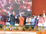 BJP president Amit Shah, Uttar Pradesh Chief Minister Yogi Adityanath and State BJP chief Mahendra Nath Pandey during a public rally in Varanasi on Jan 20, 2018.