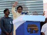 BSP chief Mayawati addresses during a party rally in Nagpur, on Dec 10, 2017.