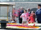 Canadian Prime Minister Justin Trudeau and his family pay floral tribute at the Samadhi of Mahatma Gandhi, at Rajghat, in Delhi on Feb 23, 2018.