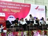 Civil Aviation Minister Ashok Gajapathi Raju addresses during a programme organised to induct first external party aircraft - an aircraft belonging to budget carrier SpiceJet - for major ...