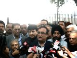 Congress leader Ajay Maken talks to the press in the presence of party leaders Sheila Dixit, Arvinder Singh Lovely and Haroon Yusuf after meeting Delhi Lieutenant Governor Anil Baijal, in ...