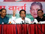 Congress leader Kamal Nath addresses a press conference in Dehradun on Feb 8, 2017.