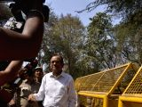 Congress leader P. Chidambaram whose son Karti Chidambaram who was produced before a Special Court hearing INX Media money laundering case arrives at at Patiala House Courts in New Delhi, ...