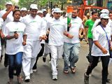 Congress leaders participate in a peace run organised on Former Prime Minister Indira Gandhis birth centenary in Kolkata on Nov 19, 2017.
