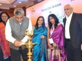 Congress MP Rajeev Gowda, FLO Bangalore Chairperson Lakshmi Ishwar, Feedback Consulting Chairman and MD V Ravichander and other dignitaries during the inauguration of an interactive ...