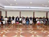 Congress Parliamentary Party Chairman Sonia Gandhi, party president Rahul Gandhi, party leader Manmohan Singh, Nationalist Congress Party chief Sharad Pawar, Rebel JD(U) leader Sharad ...