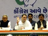 Congress President-elect Rahul Gandhi with Congress leader Ashok Gehlot and Gujarat Congress chief Bharat Singh Solanki during a press conference in Ahmedabad on Dec 12, 2017.