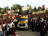 Congress President Rahul Gandhi during a roadshow in Shillong on Feb 21, 2018.