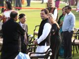 Congress President Rahul Gandhi interacts Union Minister Arun Jaitley and Chief Justice of India Dipak Misra during  'At Home' reception hosted by President Ram Nath Kovind on Republic Day ...