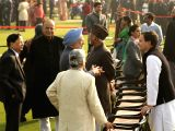 Congress President Rahul Gandhi interacts with party leader and Former Prime Minister Manmohan Singh as Former VicePresident Hamid Ansari, Union Minister Arun Jaitley and Chief Justice of ...