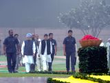 Congress Vice President Rahul Gandhi and Former Prime Minister Manmohan Singh during a programme organised to pay tribute to Former Prime Minister Indira Gandhi on her 33rd death ...