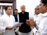 Congress Vice-President Rahul Gandhi during a party meeting in Jamnagar, Gujarat on Sept 26, 2017. Also seen Ashok Gehlot.