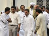 Congress Vice President Rahul Gandhi leaves after attending a party meeting in New Delhi, on Oct 30, 2017. Also seen Congress leaders P Chidambaram and Randeep Singh Surjewala.