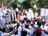 Congress workers led by Delhi Congress chief Ajay Maken stage a demonstration in front of Election Commission of India in New Delhi, on Oct 16, 2017.
