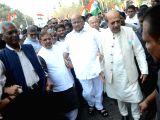 CPI General Secretary D Raja, rebel JD(U) leader Sharad Yadav, NCP chief Sharad Pawar, Congress leader Sushil Kumar Shinde and Trinamool Congress leader Dinesh Trivedi participate in 'Save ...