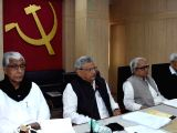 CPI-M leaders Manik Sarkar, Sitaram Yechury, Biman Bose and Prakash Karat during a party meeting in Kolkata on Jan 19, 2018.