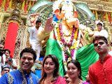 Cricketer Sachin Tendulkar along with his wife Anjali Tendulkar, daughter Sara Tendulkar and son Arjun Tendulkar visit Lalbaugcha Raja during Ganesh Chaturthi celebrations at Lalbaug in ...