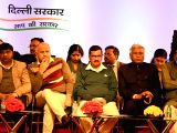 Delhi Chief Minister Arvind Kejriwal, Deputy Chief Minister Manish Sisodia with Delhi Speaker Ram Niwas Goel and  AAP leader Gopal Rai during a programme organised on completion of three years of ...