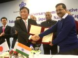 Delhi Chief Minister Arvind Kejriwal during a programme organised to sign Twin City Friendship Agreement between Fukuoka Prefectural Government (Japan) and Government of NCT of Delhi in ...