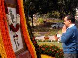 Delhi Chief Minister Arvind Kejriwal pays tribute to the portrait of Mahatma Gandhi on his death anniversary at Delhi Vidhan Sabha in New Delhi on Jan 30, 2018.