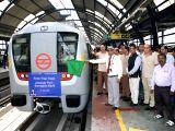 DMRC chief Mangu Singh during the inauguration of Delhi Metro Rail Corporation (DMRC) Phase 3 corridor trial runs between Jahangirpuri-Samaypur Badli in Delhi on July 3, 2015.