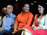 Dr. Yashwant Ambdekar with Cricket legend Sachin Tendulkar and wife Anjali Tendulkar during the launch of his book