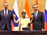 External Affairs Minister Sushma Swaraj, her Chinese counterpart Wang Yi and Russian counterpart Sergei Lavrov during a press briefing after Russia-India-China trilateral meeting in New ...