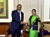 External Affairs Minister Sushma Swaraj meets Papua New Guineas Planning and Monitoring Minister Richard Maru in New Delhi on Dec 14, 2017.