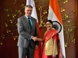 External Affairs Minister Sushma Swaraj meets Maltese Minister for Foreign Affairs and Trade Promotion Carmelo Abela in New Delhi on March 6, 2018.