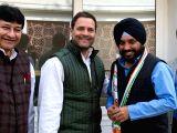 Former Delhi Congress chief Arvinder Singh Lovely who rejoins Congress party meets party President Rahul Gandhi in New Delhi on Feb 17, 2018. Also seen Delhi Congress chief Ajay Maken, ...