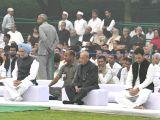 Former President Pranab Mukherjee, Former Prime Minister Manmohan Singh and Congress Vice President Rahul Gandhi during the 33rd death anniversary of former Prime Minister Indira Gandhi in ...